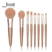 Jessup 8 pçs profissional fundação escova em pó blush contorno lápis sombra compõem escovas de cabelo sintético cosméticos