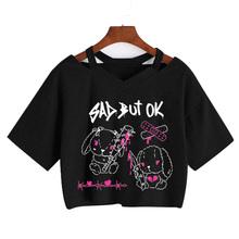 2021 lato nowe krótkie bluzki dekolt Punk Gothic drukuj Tee Harajuku Sexy koszulki z krótkim rękawem Streetwear krótka Feminino topy tanie tanio ZSIIBO REGULAR Z dzianiny CN (pochodzenie) POLIESTER spandex SHORT Z elementami naszywanymi tops Z KRÓTKIM RĘKAWEM Pasuje na mniejsze stopy niezwykle Proszę sprawdzić informacje o rozmiarach ze sklepu