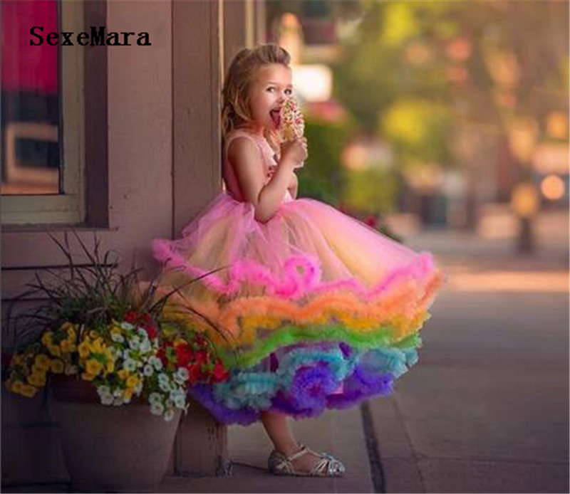 Cute Rainbow Cupcake Flower Girl Dress Toddler Glitz Pageant Gown Ruffles Infant 1st Birthday Kids Party Prom Outfits