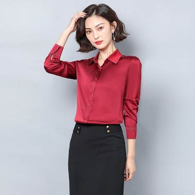 New Women Satin Silk Shirt Spring Autumn Long Sleeve Lapel Collar Office Ladies Work Shirt Women Blouse Casual Elegant Basic Top 8