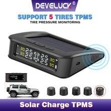 Sistema de supervisión de presión de sensor de coche, pantalla de alarma de presión solar, aviso a través del sensor externo, 6 bar, USB, TPMS 5