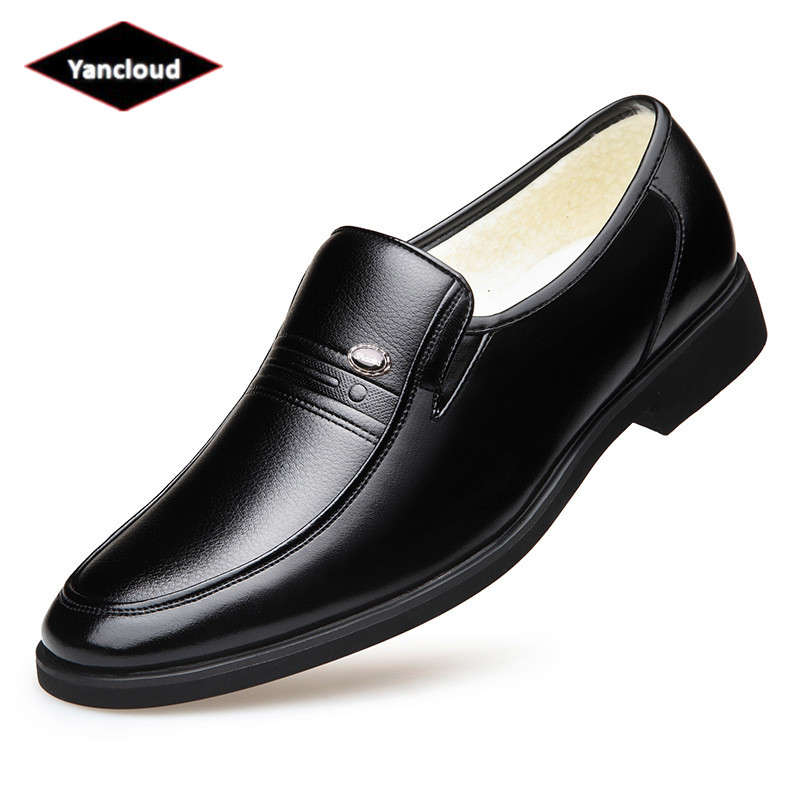 Britannique sans lacet chaussures en cuir de fourrure hommes chaussures d'hiver 2019 affaires chaussures habillées élégant costume chaussures de bureau chaussure chaude