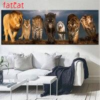FATCAT 200x70cm large 5D Diy Daimond Painting Lion tiger panther animal world Full Round Drill Rhinestone Embroidery Art decor