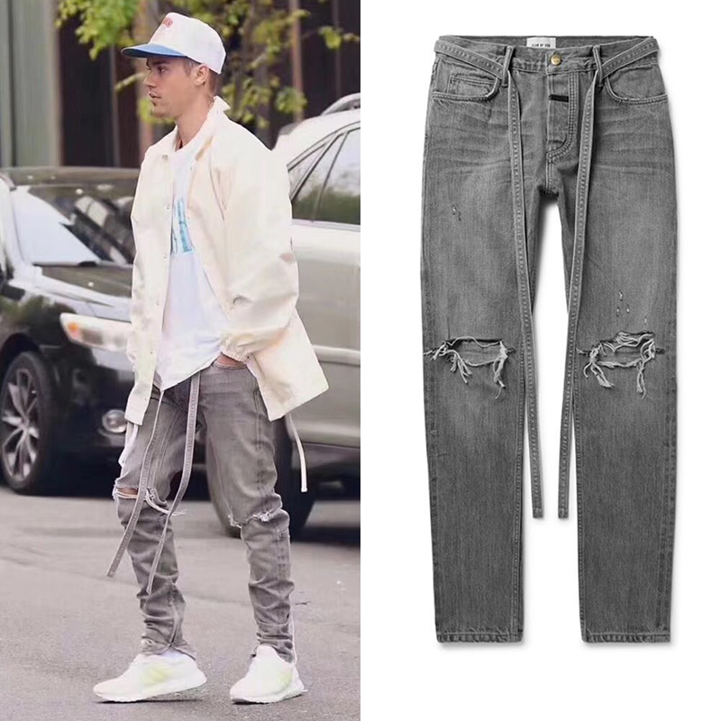 Bieber Vintage Slim Fit Jeans High Street Washed Distressed Ripped Jean For Mens Gray Blue Sashes Ankle Zip Denim Pant 2020