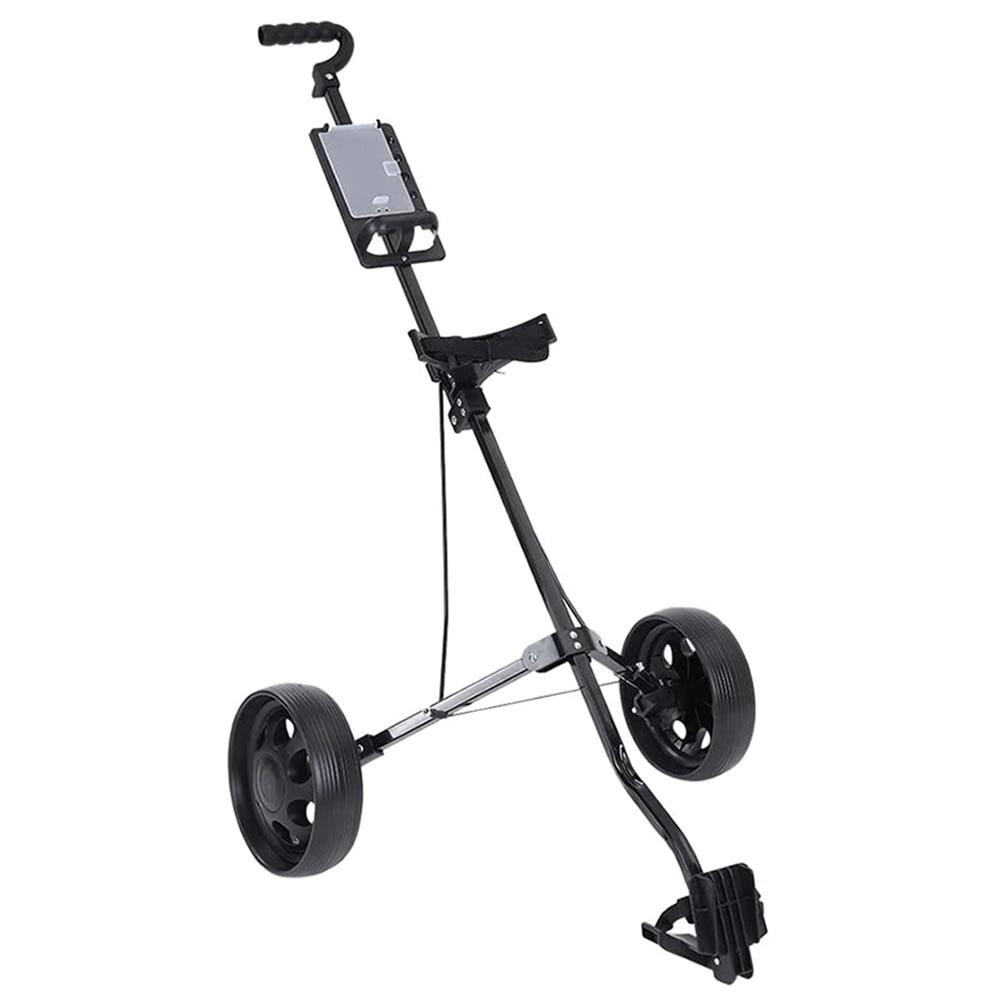 Foldable Golf Cart, Adjustable Height 2 Wheel Push Pull Golf Steel Frame Cart Trolley Swivel