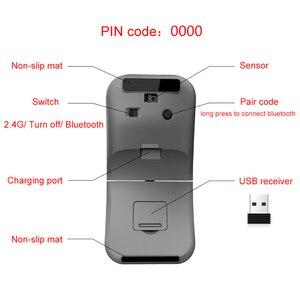 Image 5 - 2.4G Usb Draadloze + Bluetooth Folding Muis Oplaadbare Ergonomisch Gaming Mouse Voor Macbook Lenovo Asus Dell Hp Computer Muis