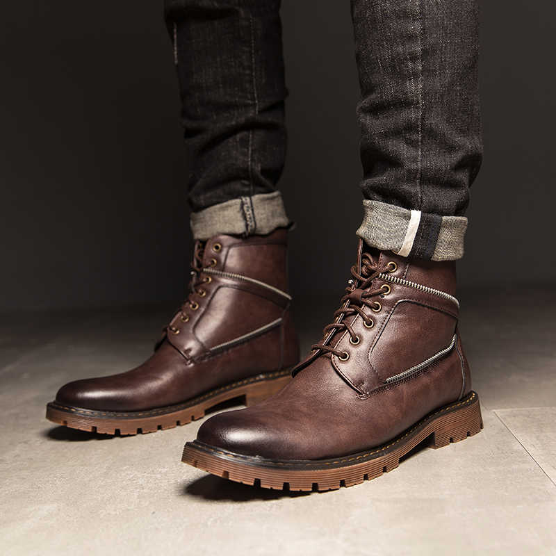 Leather Motorcycle Boots Men