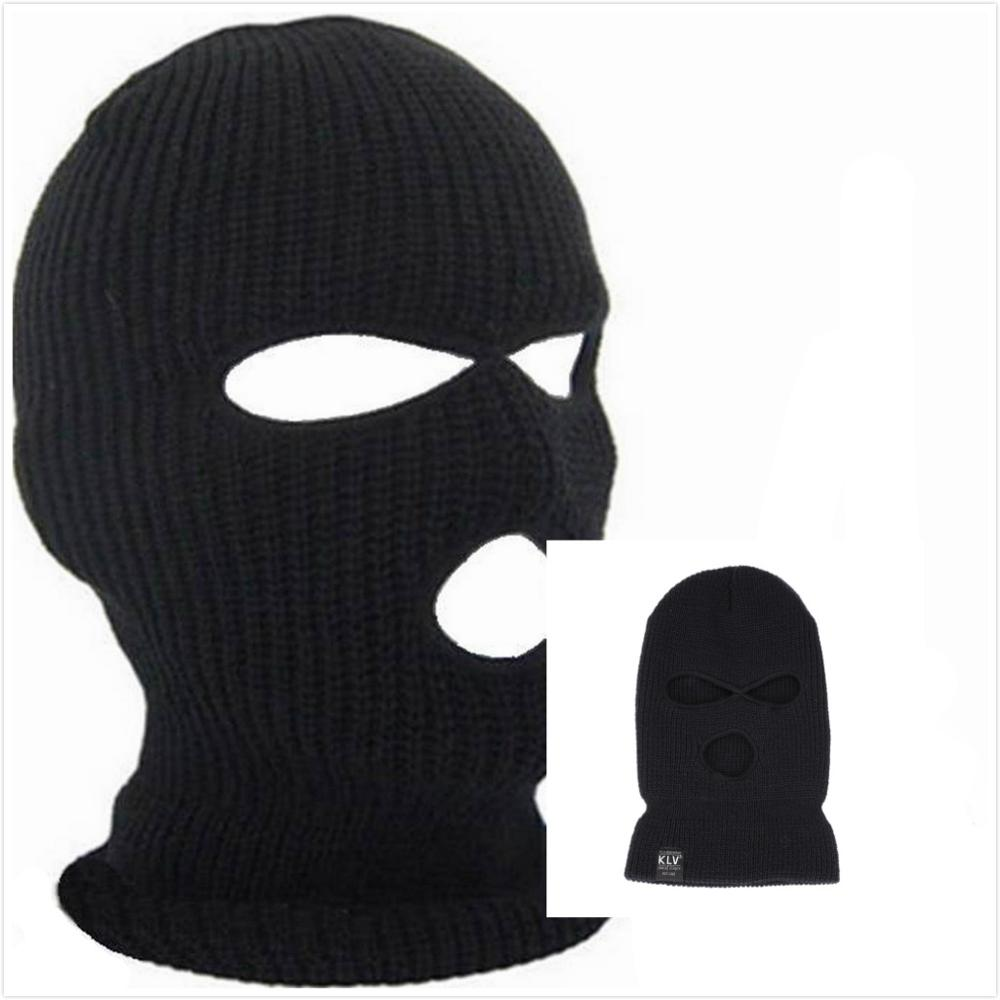 Winter Warm Men Black Masked Cap Cycling Hedging Cap 3 Holes Single Hole Acrylic Double Layer Special Hat