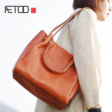 AETOO Large-capacity first layer cowhide tote bag leather large-capacity shoulder Messenger bag art retro handmade leather aetoo literary retro genuine leather backpack female large capacity soft leather hand stitched first layer cowhide backpack