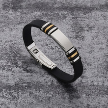 White/Black Silicone Bracelets Men Rubber Charm Casual Slide Stainless Steel & Bangles Jewelry for Women