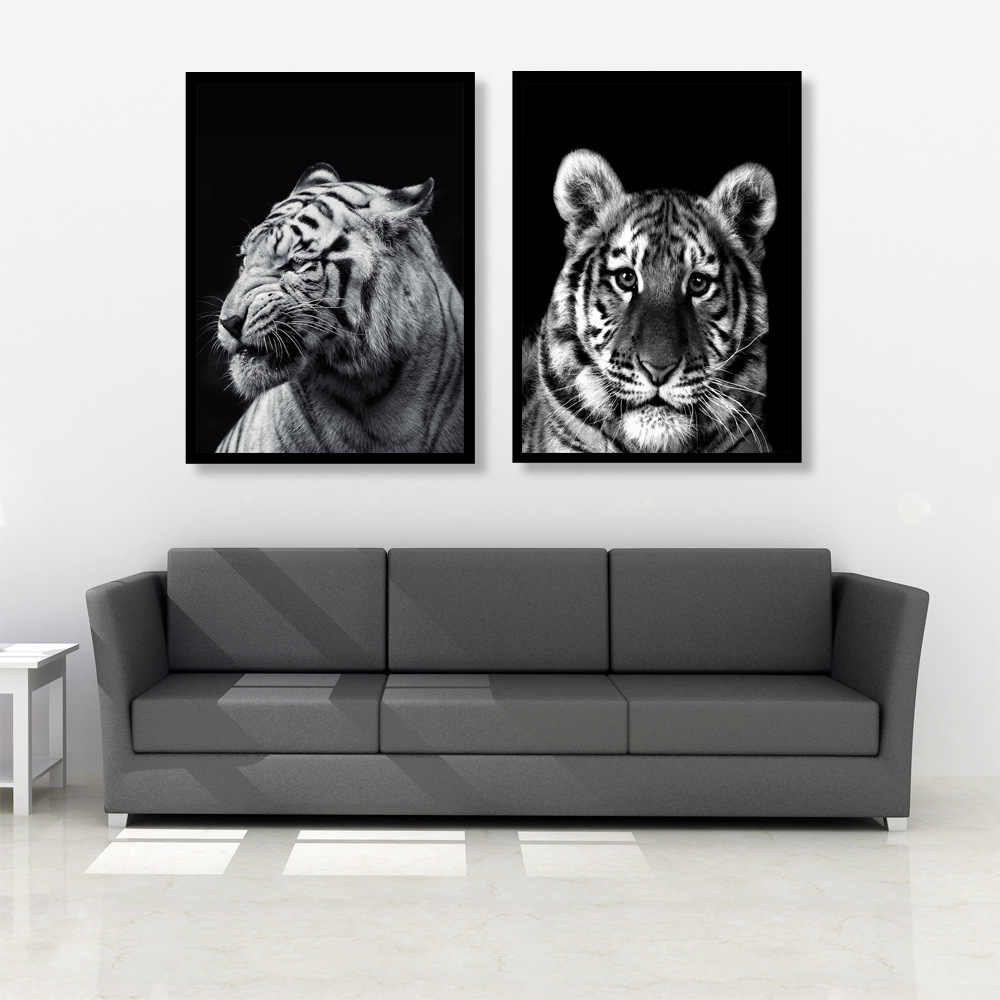 Modern Canvas Oil Painting Black and White Africa Animal Zebra Lion Giraffe  Wall Pictures Poster for Living Room Home Decor