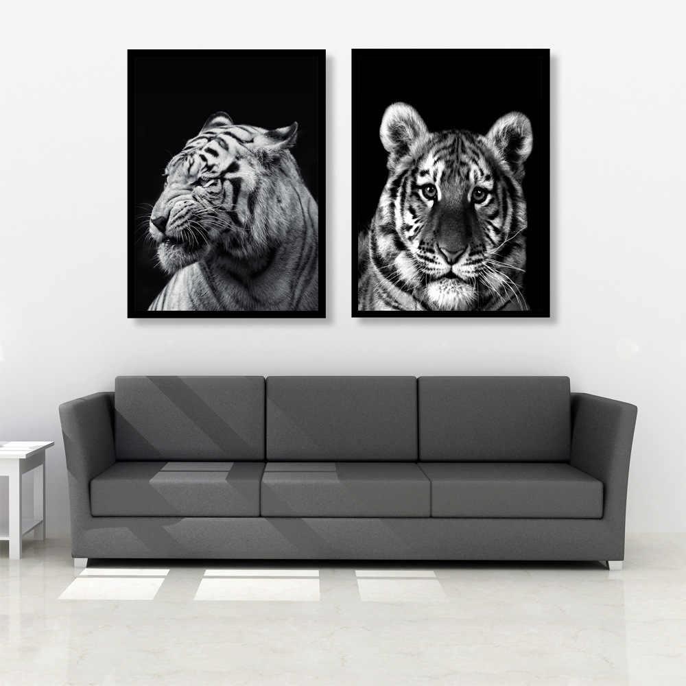 מודרני בד ציור שמן שחור ולבן אפריקה בעלי החיים זברה האריה ג 'ירפה קיר תמונות פוסטר לסלון בית תפאורה