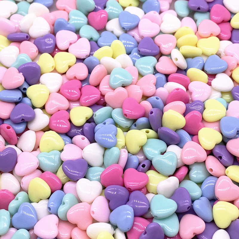 30pcs/lot 12mm 14mm Colourful Heart Shape Acrylic Loose Spacer Beads for Jewelry Making DIY Accessories