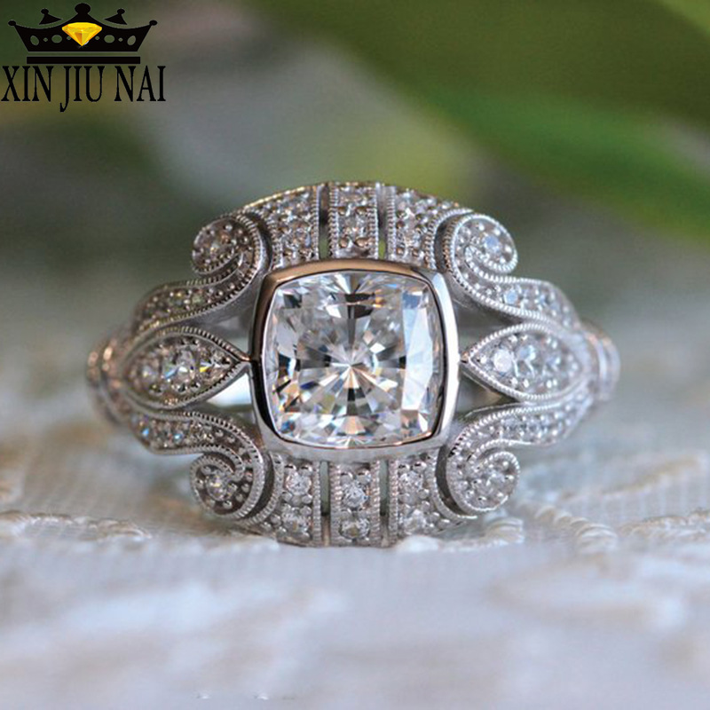 925 Anillos Silver Classic Flower Female Cubic Zirconia Stone Ring Unique Pattern Jewelry For Wedding Rings For Men Women Gifts