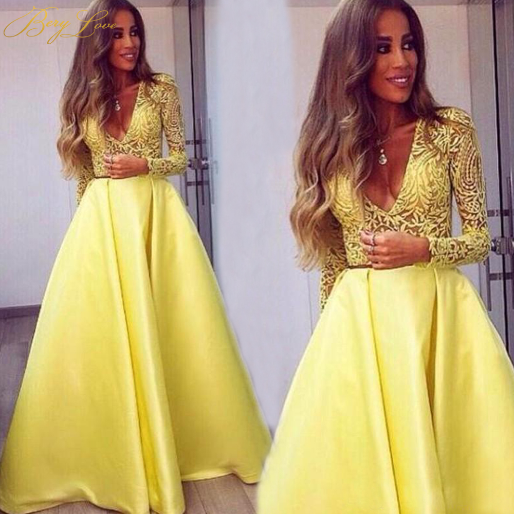 BeryLove Elegant One Shoulder Ruched Yellow   Evening     Dress   2019 Satin   Evening   Belt Fashion Prom   Dress   Zip Formal Gown Party Long