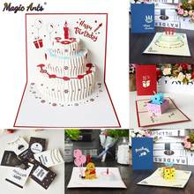 3D Pop UP Cards Birthday Card for Girl Kids Wife Husband Birthday Cake Greeting Card Postcards Gifts Card with Envelope Stickers(China)