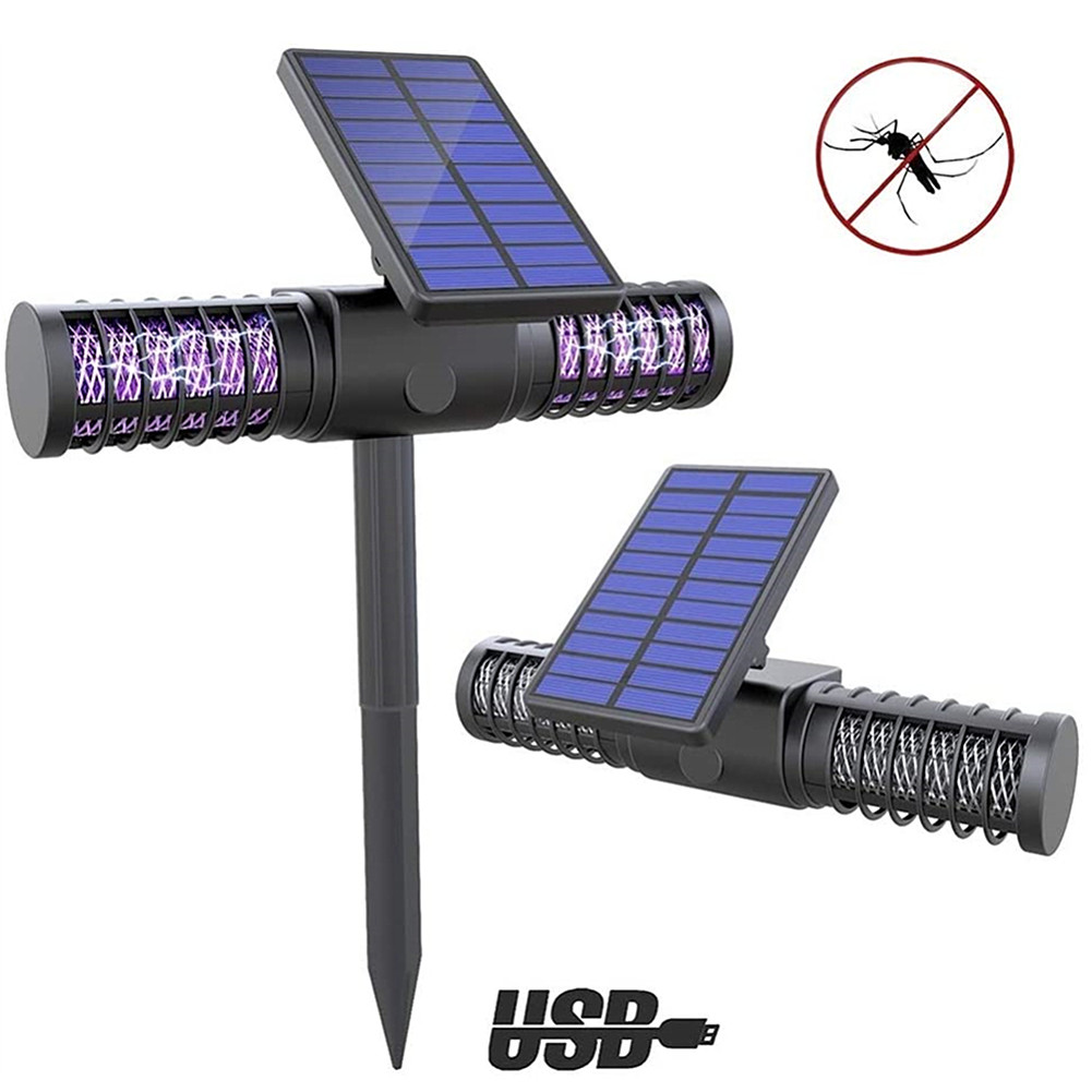 Outdoor Solar LED Mosquito Killer Lamps LED UV Night Lamp Waterproof Garden Insect Pest Bug Zapper Mosquito Killer