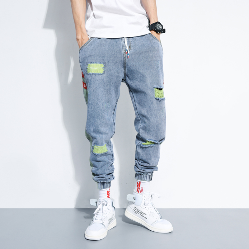 IiDossan 2020 Hole Jeans Men Regular Fashion HipHop Pants Casual Harem Jeans Streetwear Denim Men Pleated Trousers Slouchy Jeans