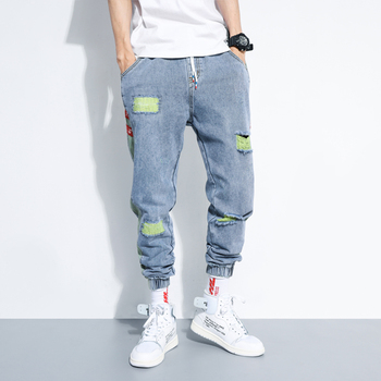 iiDossan 2020 Hole Jeans Men Regular Fashion HipHop Pants Casual Harem Jeans Streetwear Denim Men Pleated Trousers Slouchy Jeans envmenst brand high quality men s jeans hole casual ripped jeans men hiphop pants straight jeans for men denim trousers