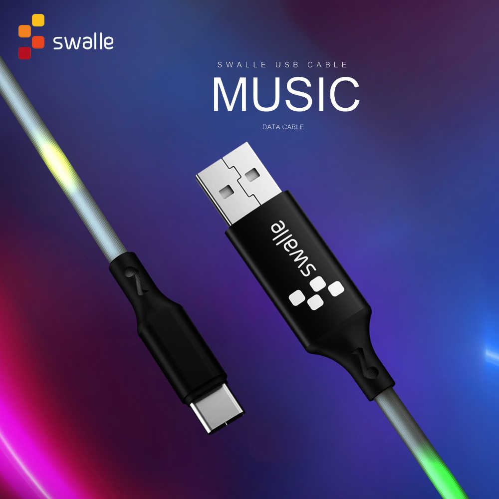 Swalle usb cable music data cable 2A fast charger micro usb c cable charging data transmission sync type c charging with light