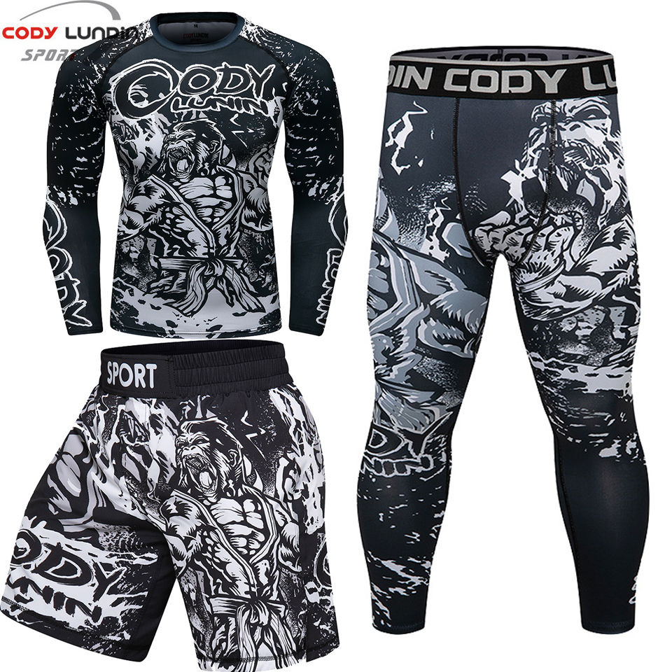 Rashguard For Men Rash Guard Mma T-shirts +shorts Trousers Muay Thai T Shirt Short Bjj Gi Kickboxing Mma Clothing Boxing Shorts Wide Varieties