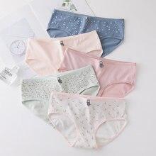 Женские хлопковые трусики в горошек розовые Модные женские пикантные