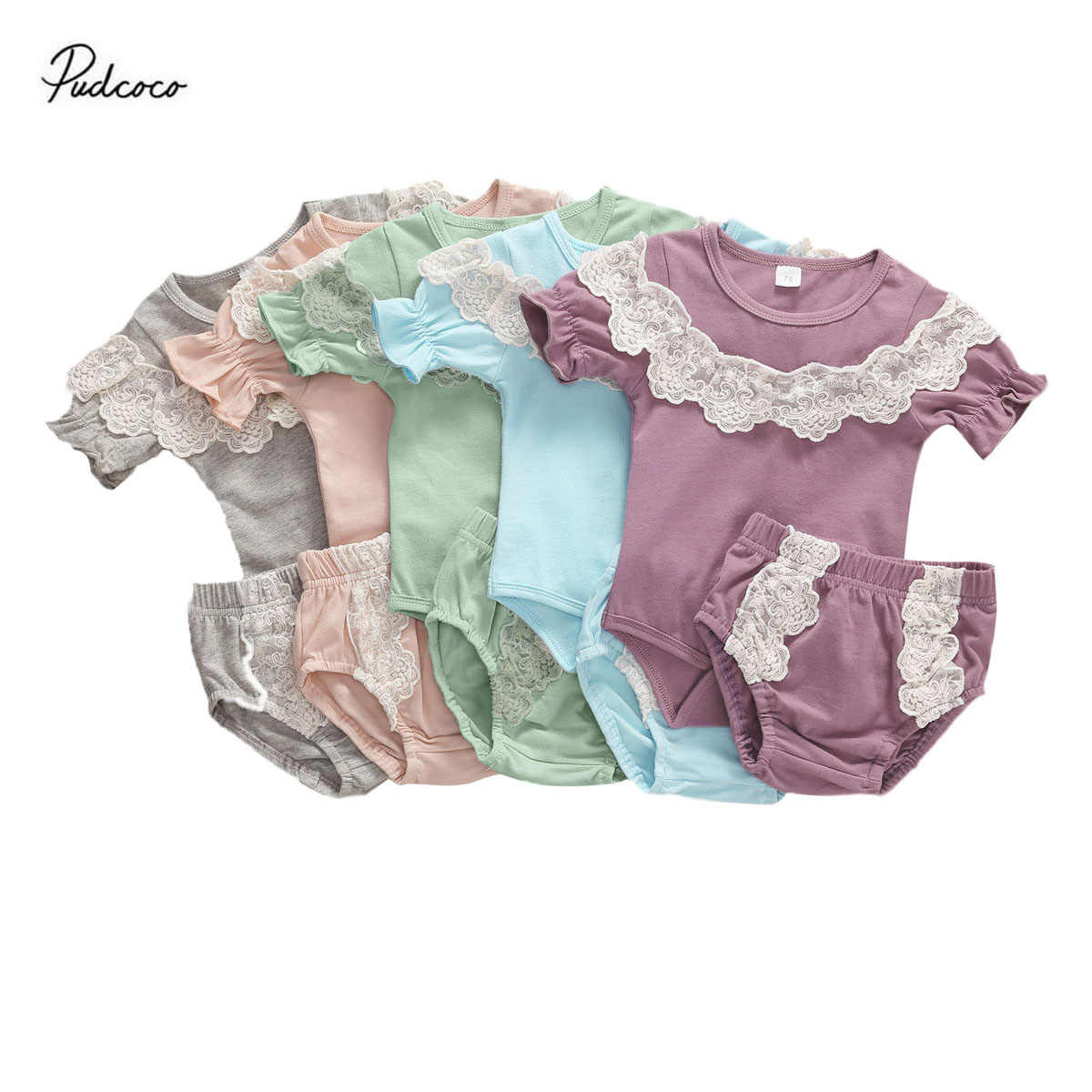 Pasgeboren Baby Romper Tweedelige Set T-shirt Shorts Gehaakte Elastische Taille Kant Decoratie Plooien Lotusblad Baby Kleding set