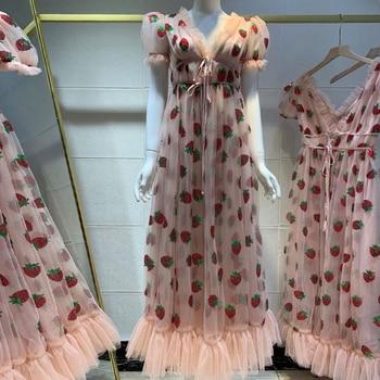 Women Sequin Strawberry Maxi Dress Summer Embroidery Mesh Lace Up High Waist Long Dress Original Quality