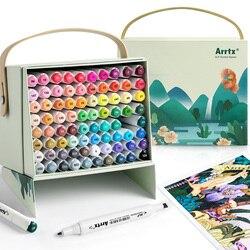 Arrtx 80 ألوان نابضة بالحياة من الكحول ماركر ALP نصائح مزدوجة قلم تحديد لرسم بطاقة رسم تصميم الفنون الأشغال أداة فنية