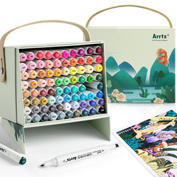 Artx 80 colores vibrantes de Alcohol marcador de puntas duales ALP, bolígrafo marcador para dibujar tarjetas de dibujo de bocetos, herramienta artística de diseño de artes