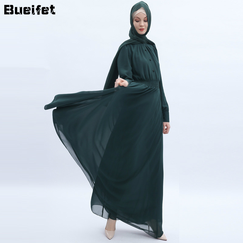 Fashion Abayas for Women Chiffon Muslim Dress Turkey Muslim Women Hijab Dress Islam Caftan Marocain Dresses Vestidos Eid Mubarak 1