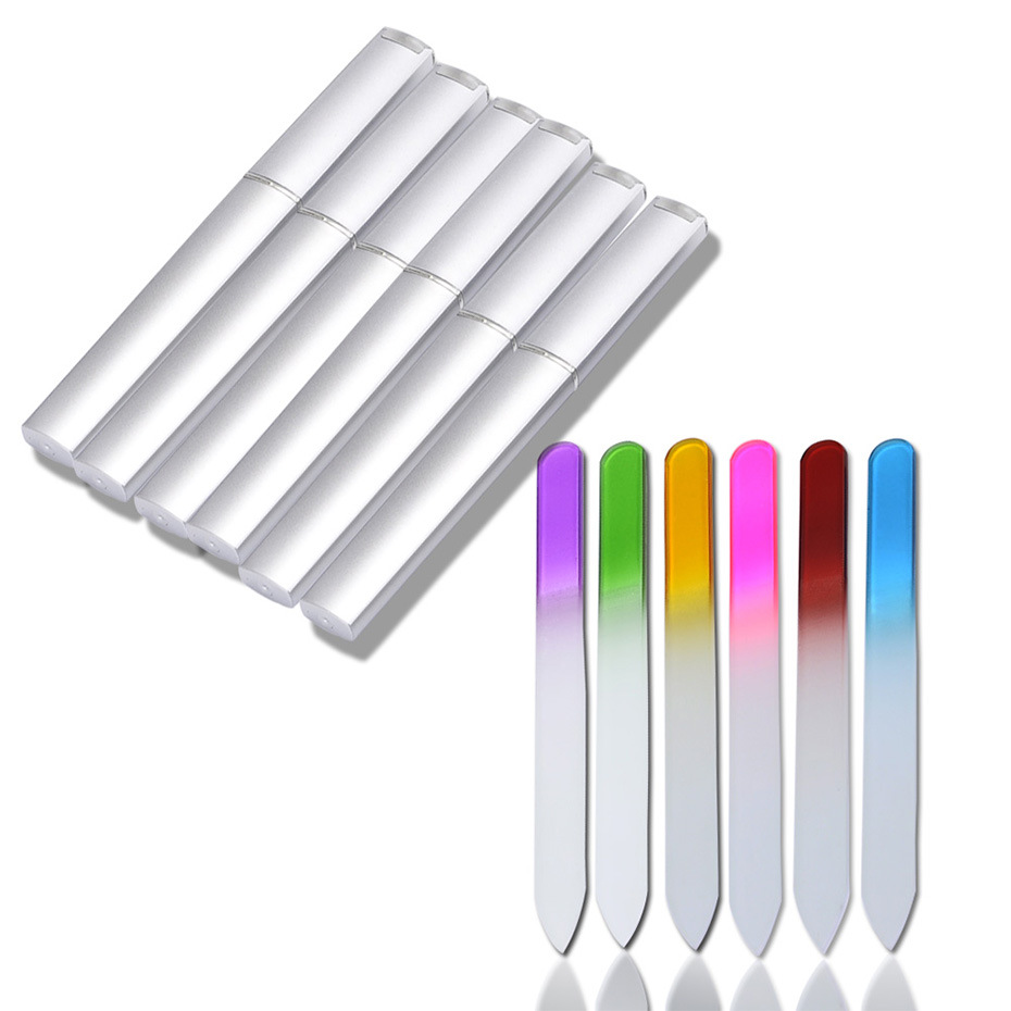 6PCS Glass Nail Files Manicure Device Nail File Buffer Cuticle Cleaner Nail Art Decorations Pro Tool