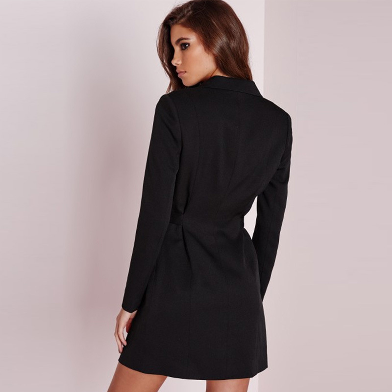 Long Blazer Feminino Black White Spring Autumn Jacket Women Blazers And Jackets Deep V-neck Women's Suit Office Wear YQ192