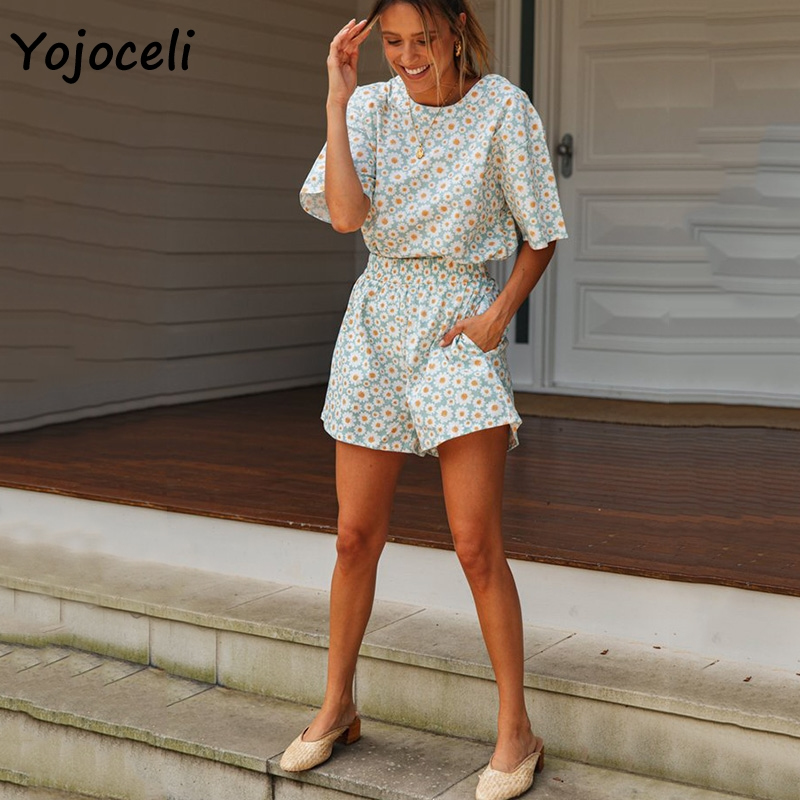 Yojoceli Chic Floral Print Two Pieces Jumpsuit Romper Women Boho Beach Short Playsuit Casual Wear