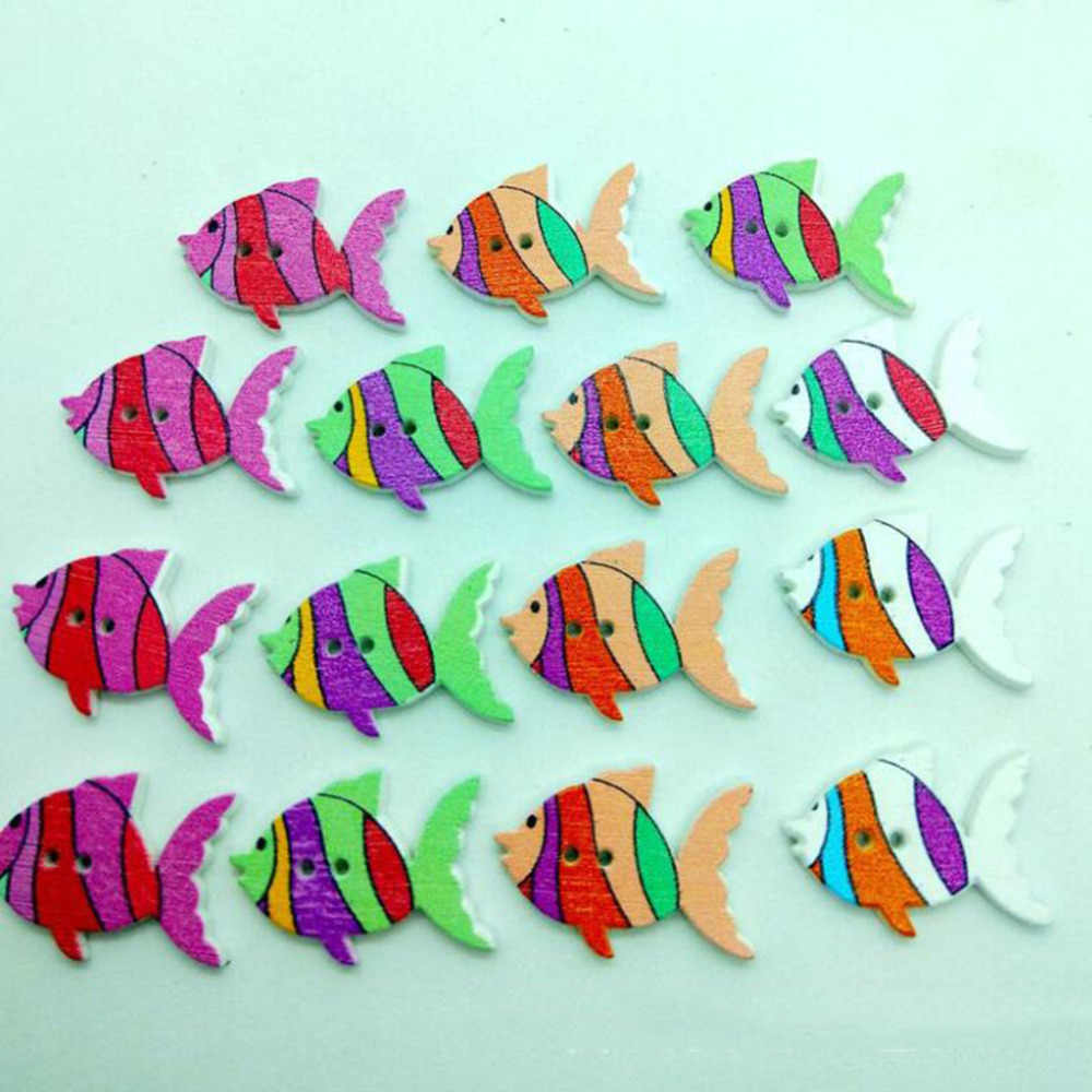 50Pcs/Pack Handmade Material Scrapbooking Cartoon Painted Fish Retro Buttons 2 Holes Wooden Kindergarten DIY Sewing Buttons