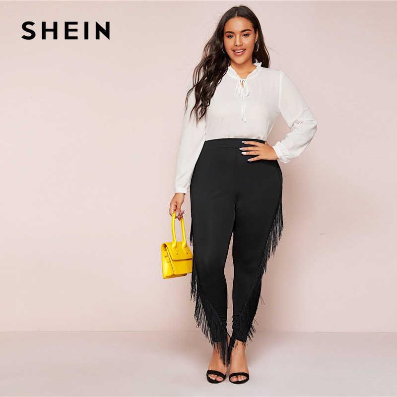 SHEIN Plus Size Black Fringe Trim Skinny Leggings Women Autumn Plus Solid Long Slim Fit Highstreet Glamorous Leggings