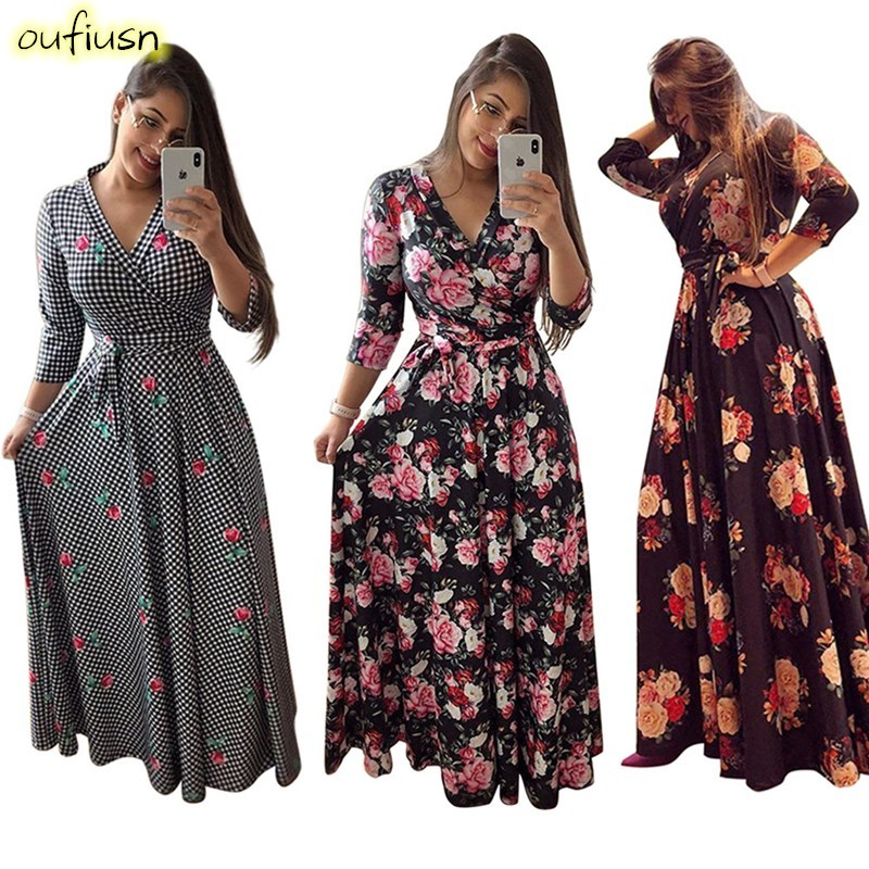 Oufisun Spring <font><b>Sexy</b></font> <font><b>Deep</b></font> <font><b>V</b></font> Neck Women's <font><b>Dress</b></font> Bohemia Tunic Maxi <font><b>Dresses</b></font> Elegant Vintage Flowers Print <font><b>Dress</b></font> Vestidos Plus Size image