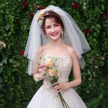 Простая двухслойная короткая тюль белая свадебная фата дешевая Фата цвета слоновой кости для невесты для свадьбы аксессуары расческа