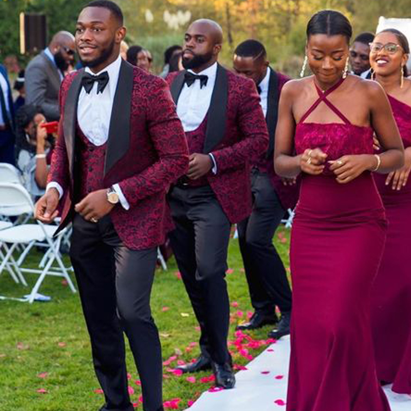 African Customized Floral Burgundy Jacket 3 Pieces Men Suits For Wedding Groom Suits Men Slim Fit Suits Costume Homme Mariage