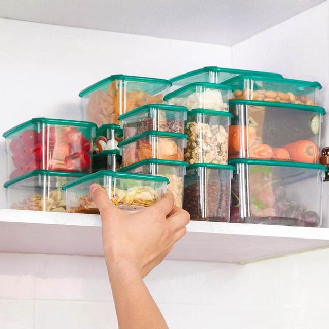 17 יח\סט מטבח מיקרוגל מקרר חותם מזון אחסון תיבת מיכל ברור פלסטיק מיכל אחסון