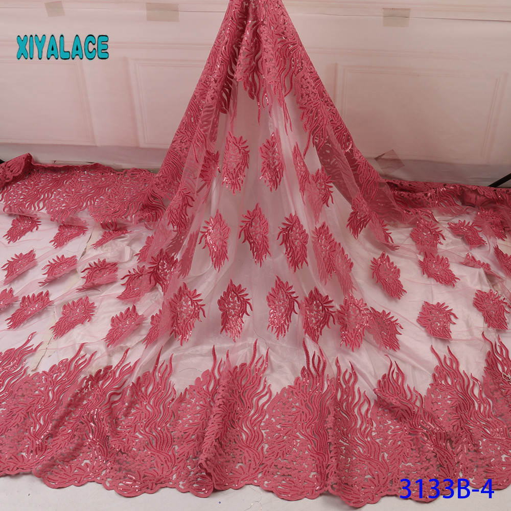 African Lace Fabric Switzerland Lace 2019 High Quality Lace Fabric Sequins Lace Fabrics French Bridal Lace For Dress YA3133B-4