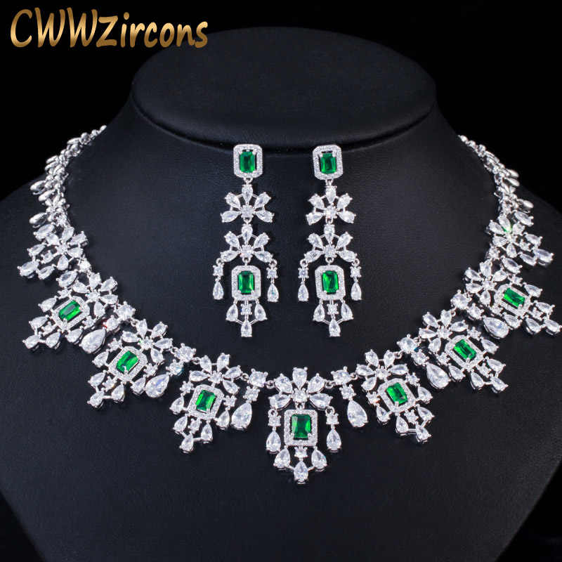 CWWZircons Luxury Green Cubic Zirconia Women Wedding Party Bride Necklace Earrings Jewelry Sets Bridal Dress Accessories T353