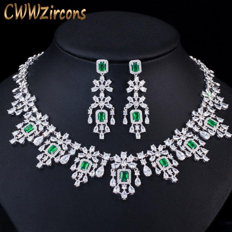 CWWZircons Luxury Green Cubic Zirconia Women Wedding Party Bride Necklace Earrings Jewelry Sets Bridal Dress Accessories T353
