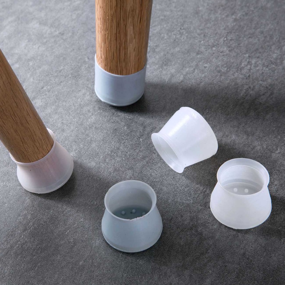 4Pcs Furniture Table Legs Protectors Caps Chair Feet Cover Protector Rubber Round Pads DIA 33mm Non-slip Transparent