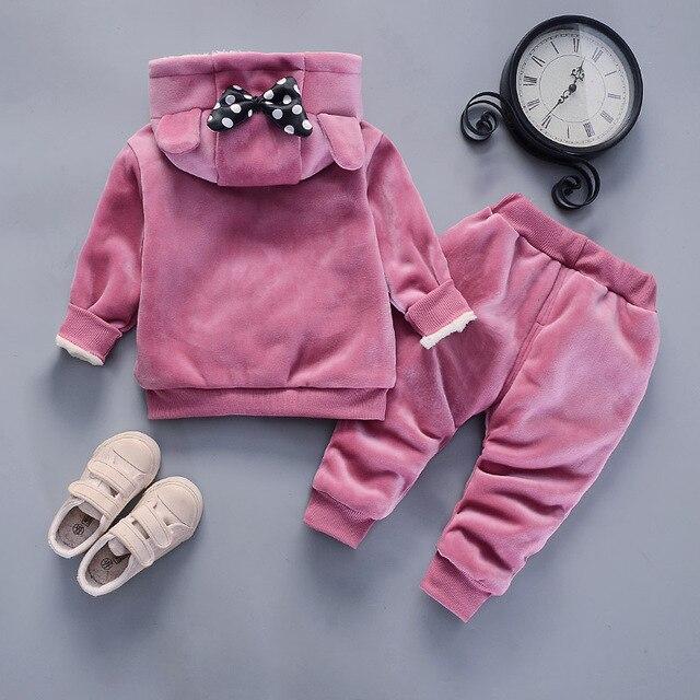Costumes dhiver pour petites filles | Ensemble de vêtements épais en coton et en peluche, sweat à capuche et pantalon pour enfants