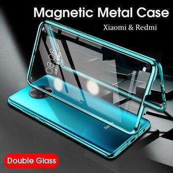 Magnetic Metal Case poco f2 pro redmi 9 10X k30 pro Case Double Tempered Glass 360 Case Xiaomi Mi 10 Pro 10lite Camera Protector