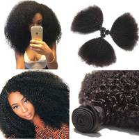 Mongolian Afro Kinky Curly Hair 3 4 Bundles Deal 100% Human Hair Bundles Remy Human Hair Extensions For American African Braid
