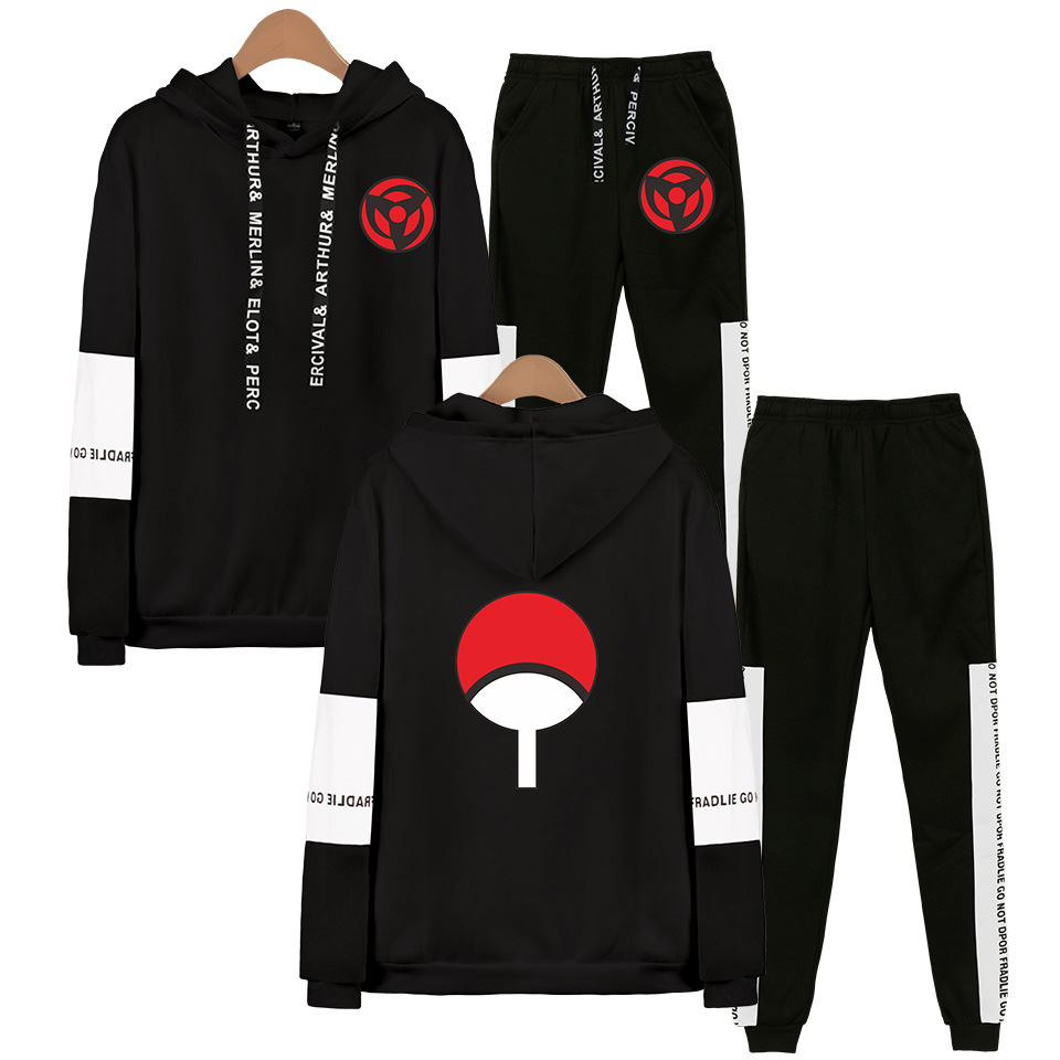 Anime Naruto Man Hoodies Suits Harajuku Streetwear Hoodie Japan Hoodies Suit Women Two Peaces Set Kawaii Kpop Unisex Tracksuit