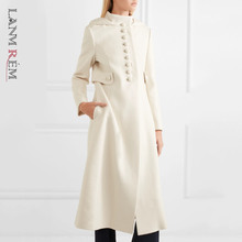 Woolen-Coat LANMREM White Winter Women Fashion Hooded-Collar Autumn Lady-Style Single-Breasted