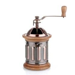 Ręcznie łukowaty młynek domowy metalowy miedziany garnek młynek do kawy Retro mały ręczny młynek do mielenia